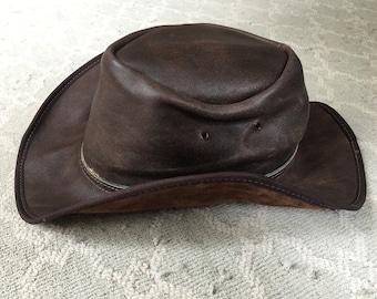5652ebf963f Vintage 100% Leather Austrian Outback Cowboy Hat Crocodile Dundee Fabulous  Rainhat Unisex Cutana Design Crushable Foldable Great Travel Hat