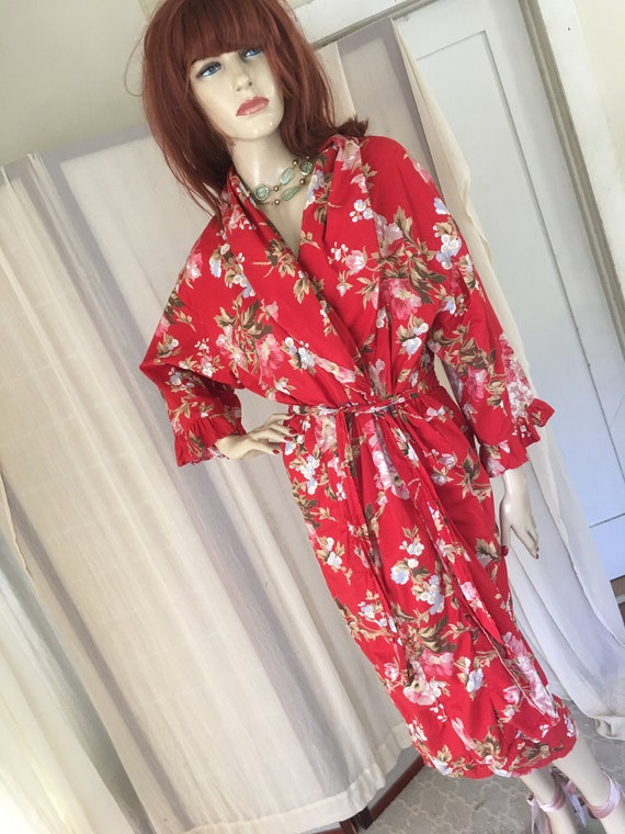 Vintage 1930s 1940s Style Red Floral Cotton Frock