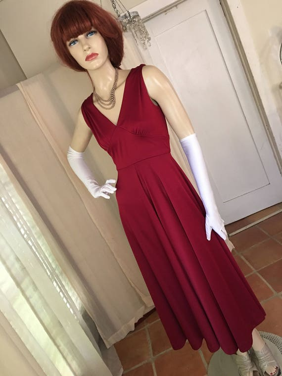 Vintage 1950s Style Deep Ruby Red Jersey Gown Size