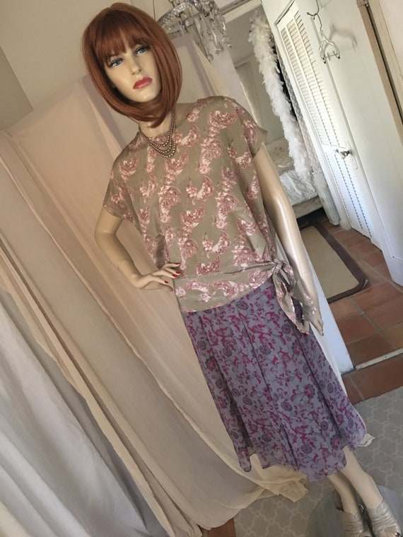 1920s Style Frock Set Day Dress Contrasting Print… - image 7