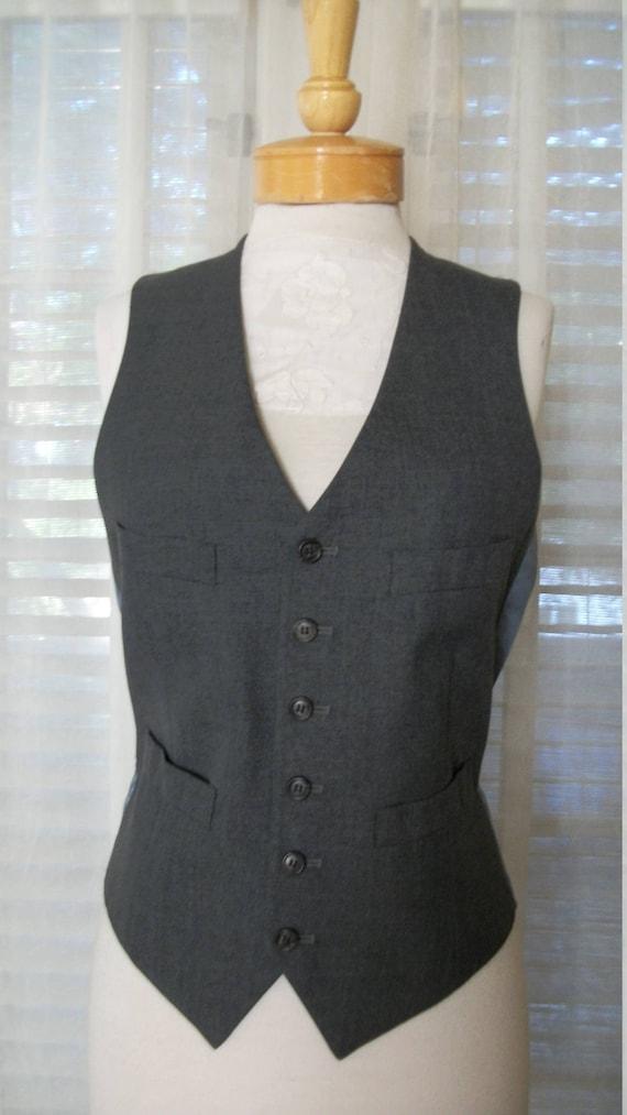 1930s Style Vintage Mens Navy Silk Pantsuit Jacket Size 40 Pants Size 33 Gangster Rockabilly Hipster AmqgQH