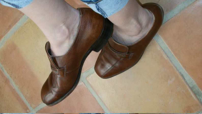 Vintage 60s 70s Mens Caramel Brown Leather Classic Loafers Size 8 12D Womens Size 9 12M