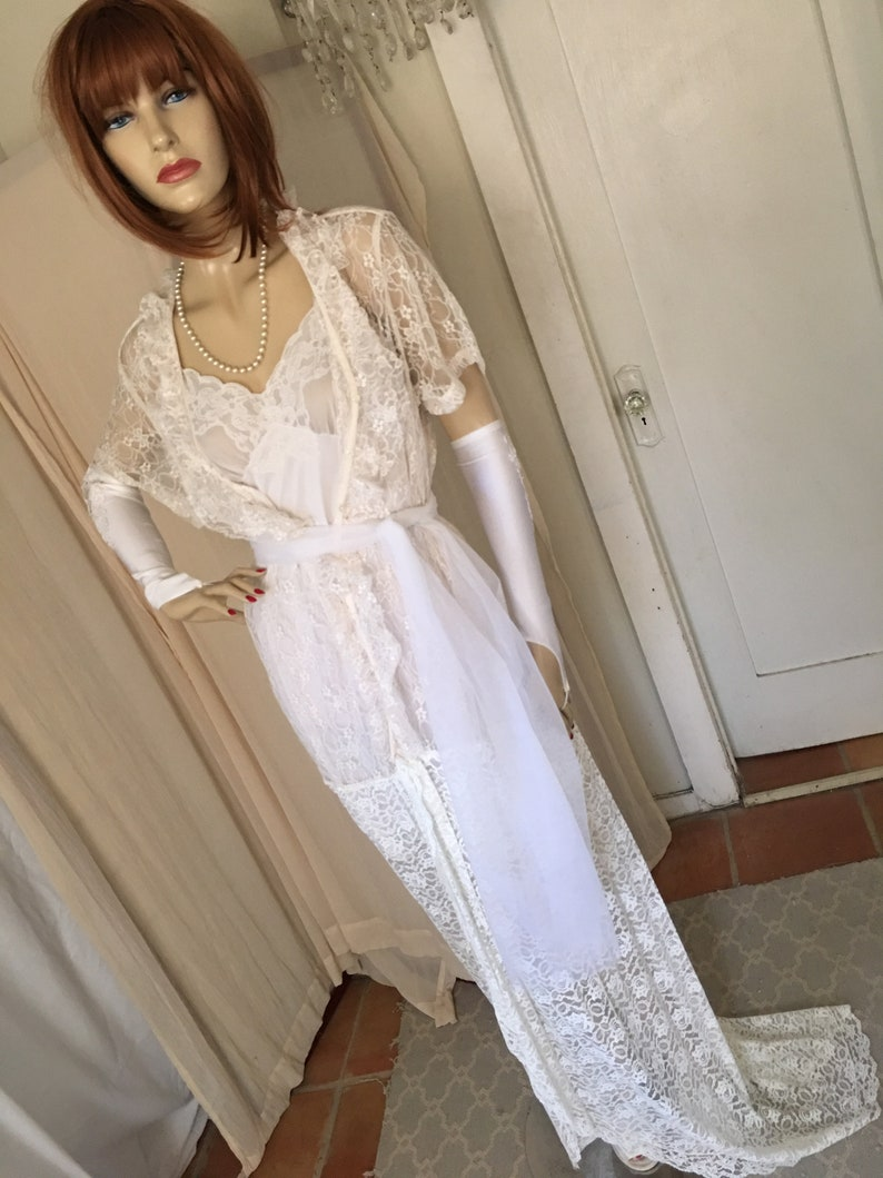 c533c0cd0f00e 1920s 1930s Style Sheer White Lace Wedding Gown with Train and Sash One  Size Orig Design Free US Ship
