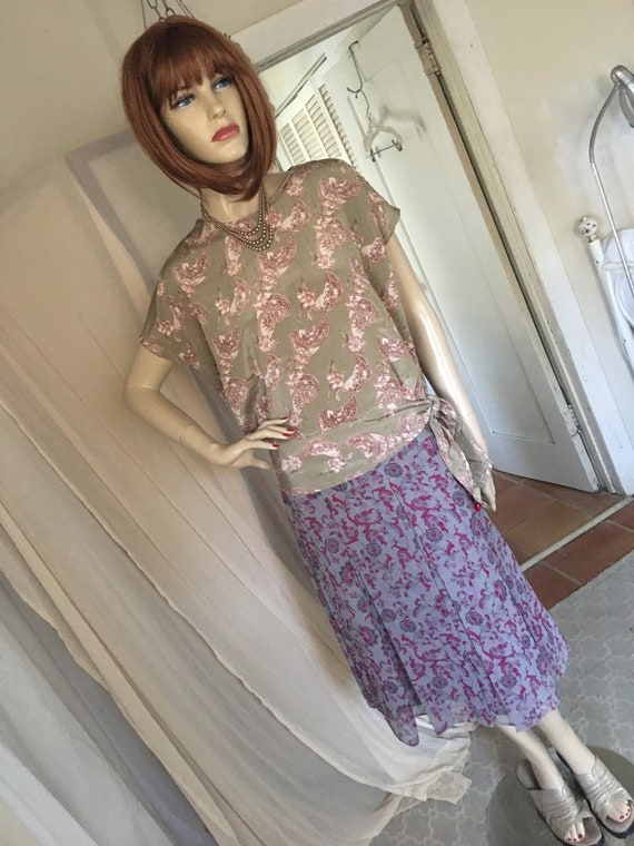 1920s Style Frock Set Day Dress Contrasting Print… - image 2