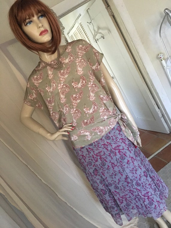 1920s Style Frock Set Day Dress Contrasting Print… - image 3
