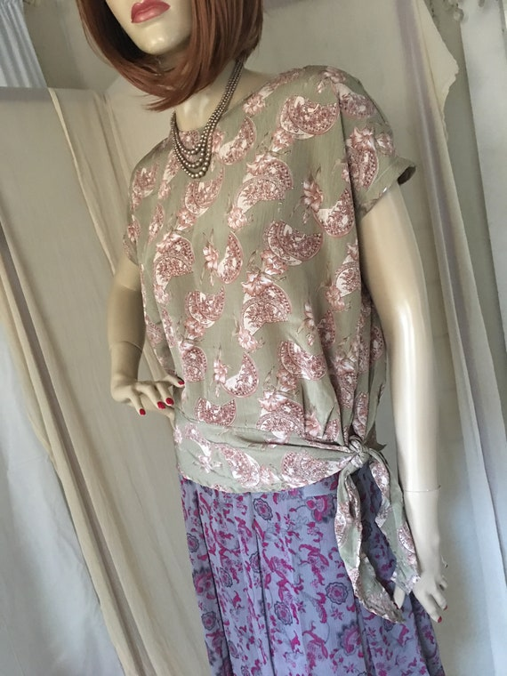 1920s Style Frock Set Day Dress Contrasting Print… - image 5