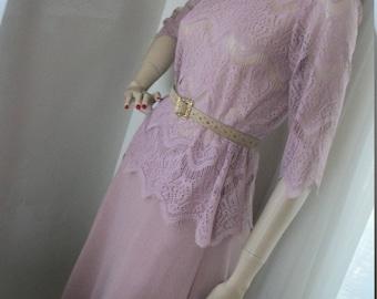 Vintage 1940s 1950s Style Dusty Rose Lacey Crochet/Wool Dress Suit Set Size M  Soft Lovely