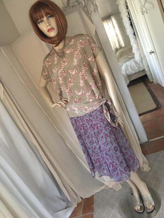 1920s Style Frock Set Day Dress Contrasting Print… - image 1
