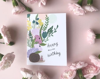 Belated Birthday - Snail - Florals - Belated Birthday - Friendship - Love - Local - Note