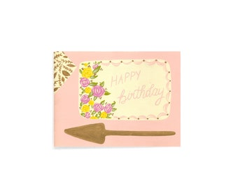 BIRTHDAY - Happy Birthday - Card - Note - cake - floral - gold