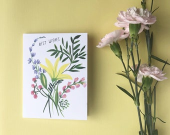Best Wishes - Florals - Blank card - Note - friendship - love - Hand painted