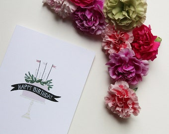 Birthday cake wih banner and flowers - Happy Birthday card - I love you - Cake with candles and flowers - Birthday friend card