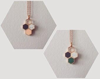 tri-colour honeycomb hexagons pendant  - necklace