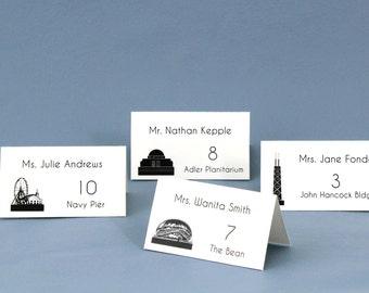 Chicago Landmark Silhouette Wedding Place Cards