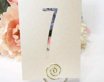 Modern Champagne Ivory Laser Cut Shimmer Table Number Cards