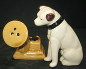 Nipper Victor Edison dog and phonograph salt and pepper ceramic NOS old stock