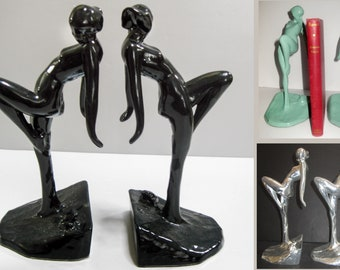 """FrankArt Nymph with Frog Bookends, Art Deco in different colors 10"""" Tall- metal, a pair"""