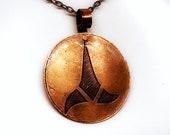 006 Etched Antique Copper Star Trek Klingon Insignia Pendant Hand Inked