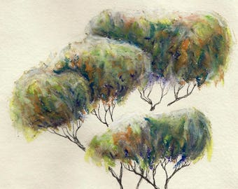 Tree ~ oil pastel and ink