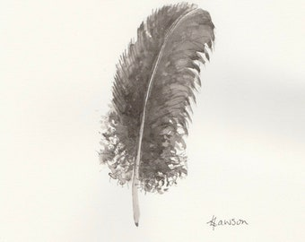 Messy feather -- Original ink drawing