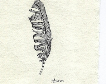 Original ink line drawing ~ messy black feather