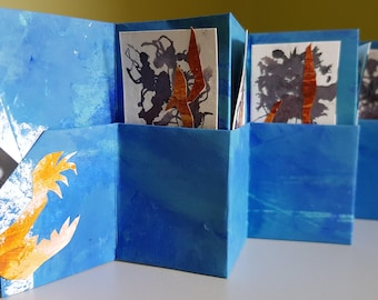 Small accordion book, with pockets and abstract cards