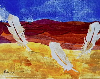 Beach with feathers ~ Original collage