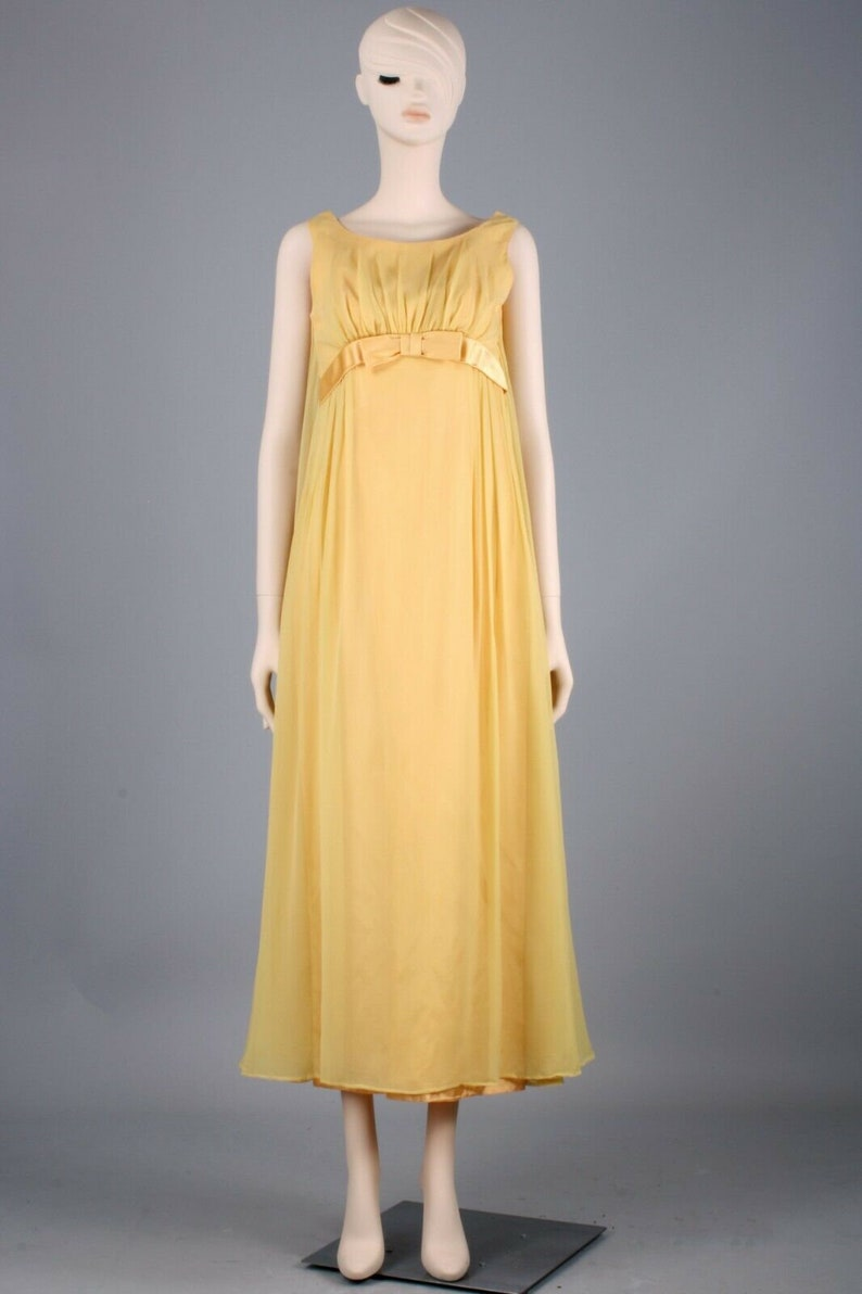 S Vintage 1960s Gold Yellow Chiffon Satin Maxi Airy Cocktail Dress Empire 60s