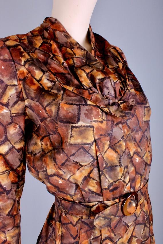 M/L Vintage 40s Copper Brown Satin Long Sleeve Te… - image 6