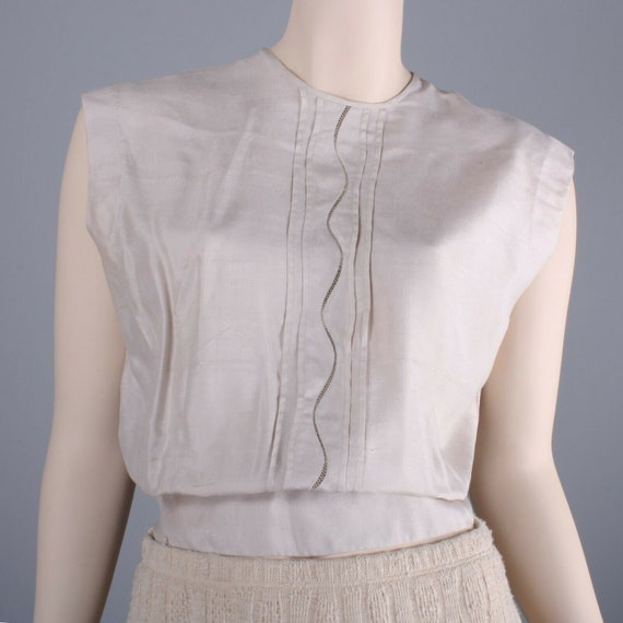 L 38 Vintage 1920s Beige Off White Nude Top Blouse