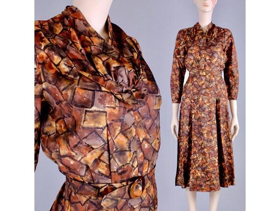 M/L Vintage 40s Copper Brown Satin Long Sleeve Te… - image 1