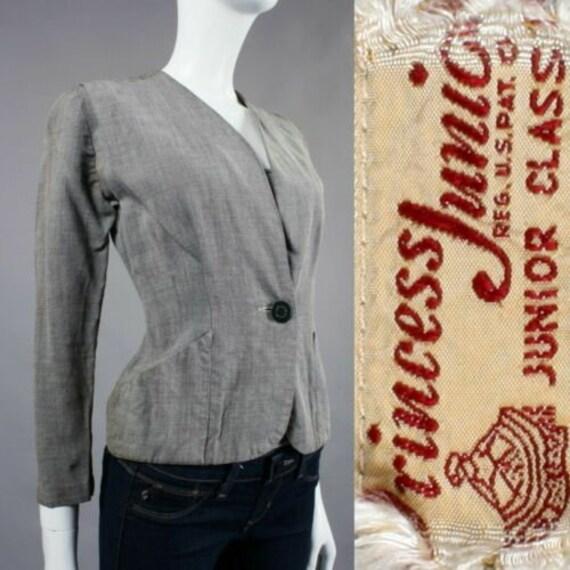 XS/S Vintage 1940s PRINCESS JUNIOR Gray Jacket Lig