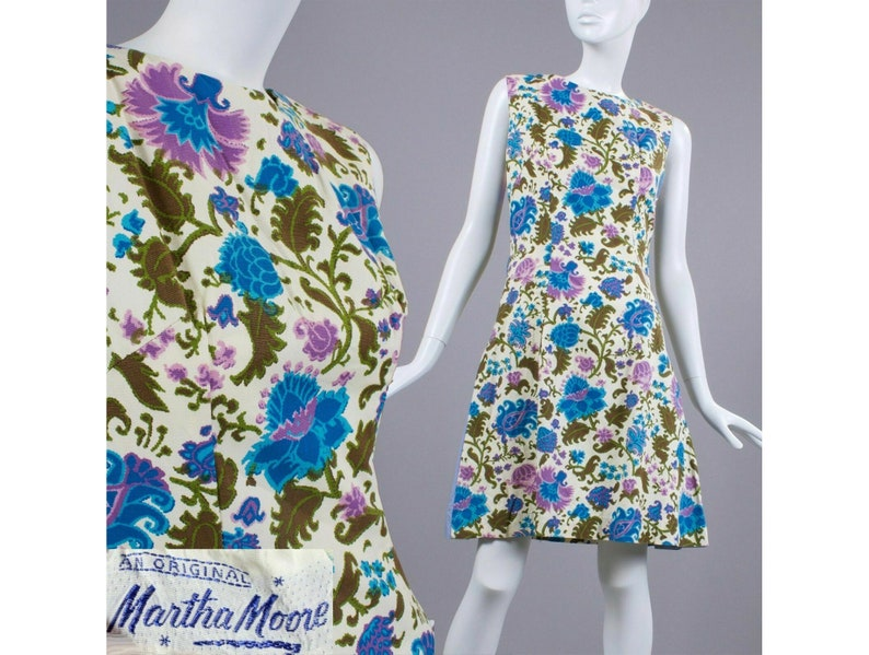 SM Vintage 1960s Martha Moore Floral Psychedelic Mod Mini Dress Sleeveless 60s