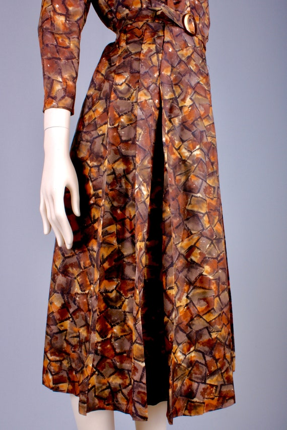 M/L Vintage 40s Copper Brown Satin Long Sleeve Te… - image 7
