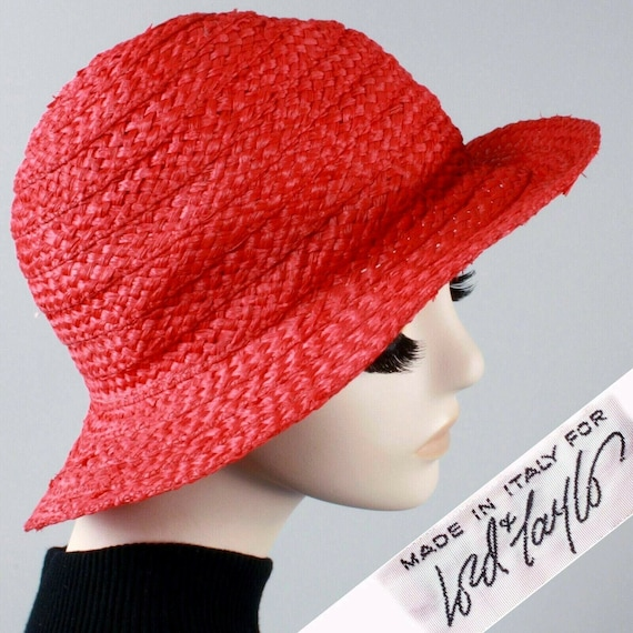 Vintage 1950s Lord & Taylor Red Cloche Straw Sun H