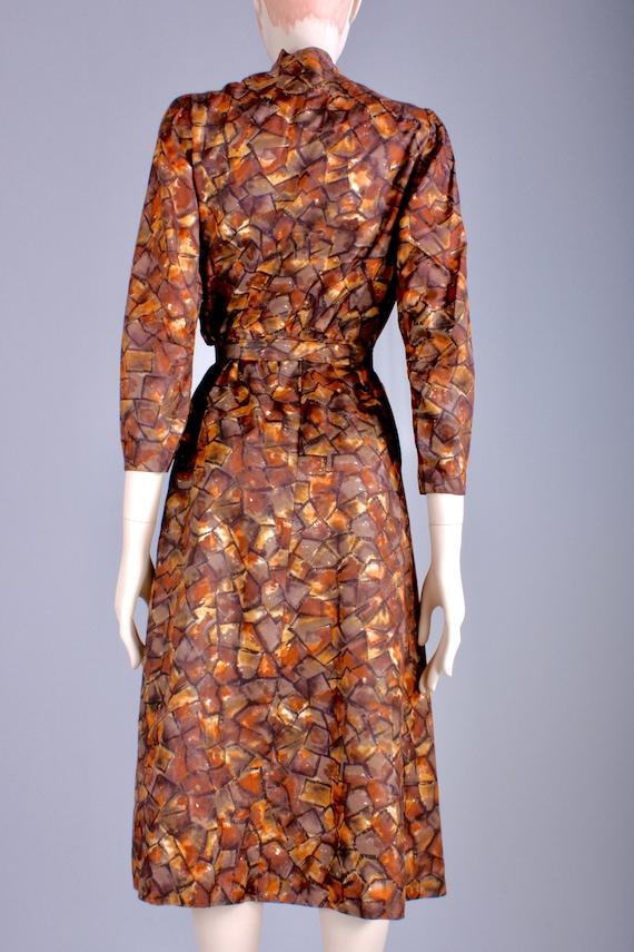 M/L Vintage 40s Copper Brown Satin Long Sleeve Te… - image 5