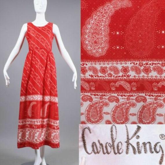S Vintage 1970s Carole King Red Handkerchief Paisl