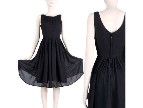 VINTAGE 1970/'s Chiffon Little Black Cocktail Dress with Flowing Obi Belt Design