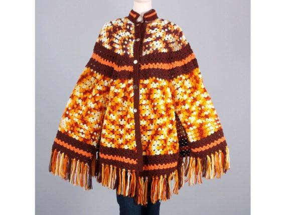 FREE Shipping Size M Vintage 70/'s Boho Acrylic Poncho Orange