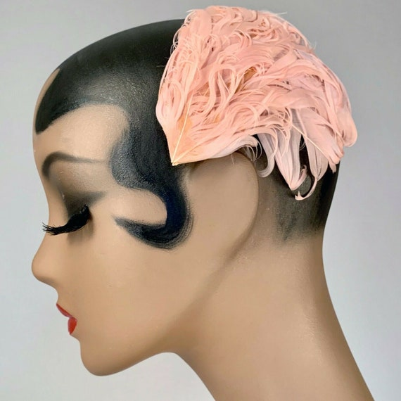 Vintage 1930s Blush Pink Curled Feather Hat Pin Up