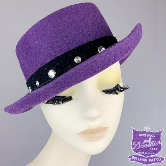 Vintage Bollman Hat Co. Purple Pork Pie Silver Stu