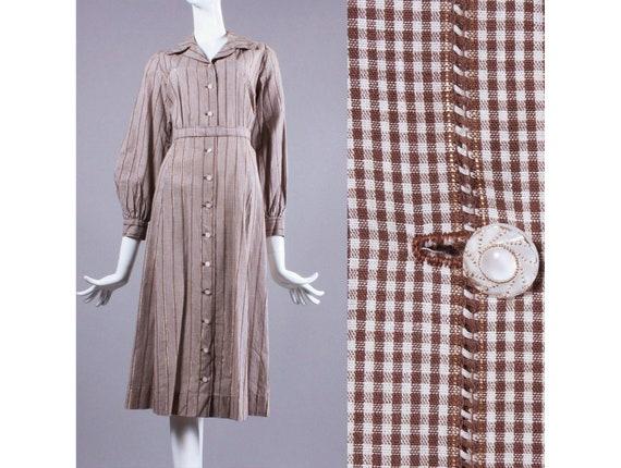 L/XL Vintage 1930s Brown Shirtwaist Dress Plaid Co
