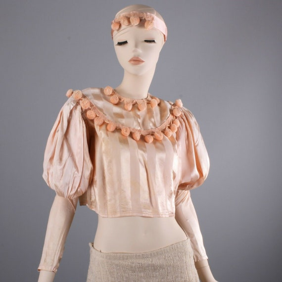 Vintage 1920s Peach Satin Pom Pom Crop Top Burlesq