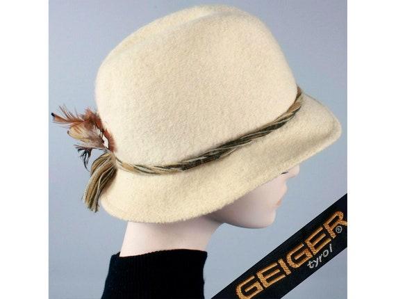 Vintage 1970s GEIGER Ivory Austrian Fedora Hat Woo