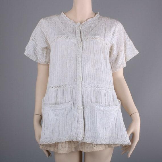 M/L Vintage 1930s Off White Cotton Maternity Summe