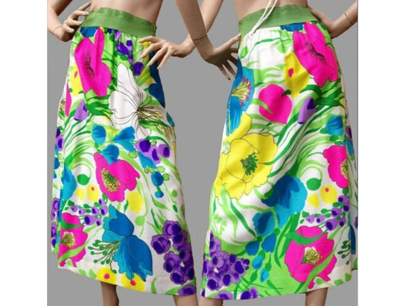 M Vintage 1960s Psychedelic Neon Maxi Skirt Hippie