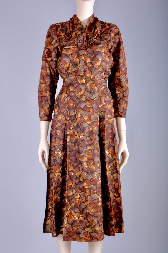 M/L Vintage 40s Copper Brown Satin Long Sleeve Te… - image 3