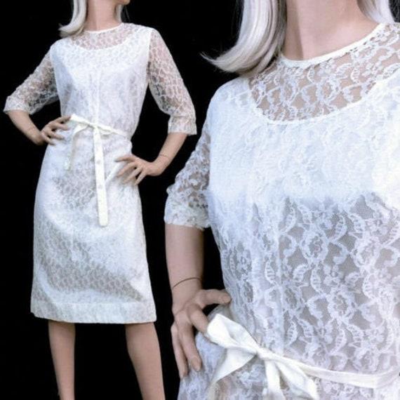 XL Vintage 1950s White Lace Pencil Midi Dress Belt