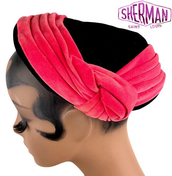 Vintage 1940s SHERMAN Black Fuchsia Pink Velvet Ca