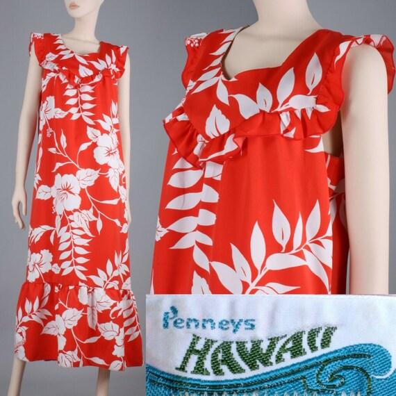 L/XL Vintage 1970s Red White Hawaiian Maxi Dress C
